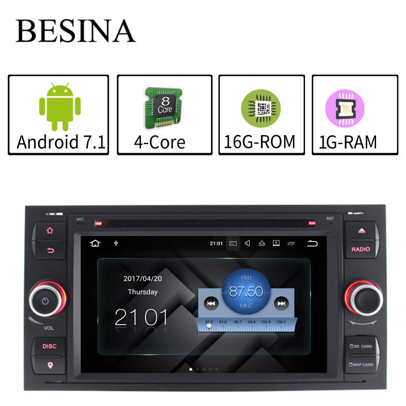 Besina Android 7.1 Car DVD Player For Ford Fiesta Mondeo Focus Transit C-MAX S-MAX WIFI Radio RDS GPS Navigation Steering Wheel
