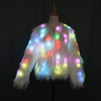 Women Faux Fur Coat Valentine Gift LED Multi Color Warm Hoodie Vest With Shiny Lights Jacket Light Up Costum