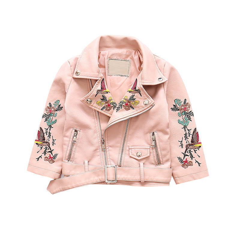 2018 Spring Autumn children's outfit coat cool girls embroidered leather short jacket fashion kids outwear red pink b 18M06