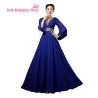 Cộng với kích thước thanh lịch dài phụ nữ khiêm tốn bridemaid royal blue bridesmaid dresses sequin với áo đối với chính thức đám cưới H2912