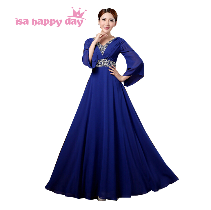 US $44.37 6% OFF|plus size elegant long modest women bridemaid royal blue  bridesmaid dresses sequin dress with sleeve for formal weddings H2912-in ...