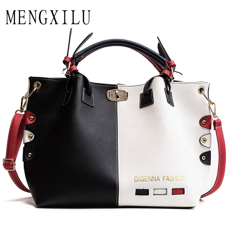 MENGXILU Women Handbag Fashion Women Bag PU Leather Tote Bag Ladies Designer Patchwork Handbags Female Casual Large Shoulder Bag fashion new handbags high quality pu leather women bag candy colored ladies styling handbag wild casual shoulder bag female bag