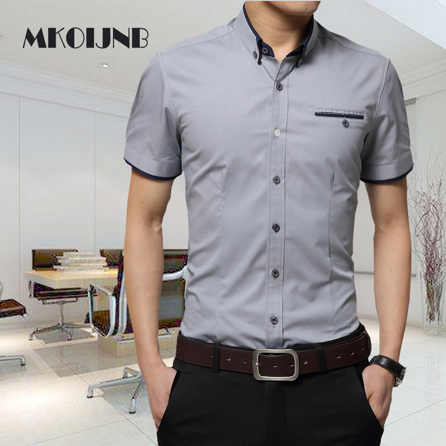 2018 New Design Men Summer Business Shirt Short Sleeves Turn-down Collar Tuxedo Shirt Men Male Social Shirts men clothes ...