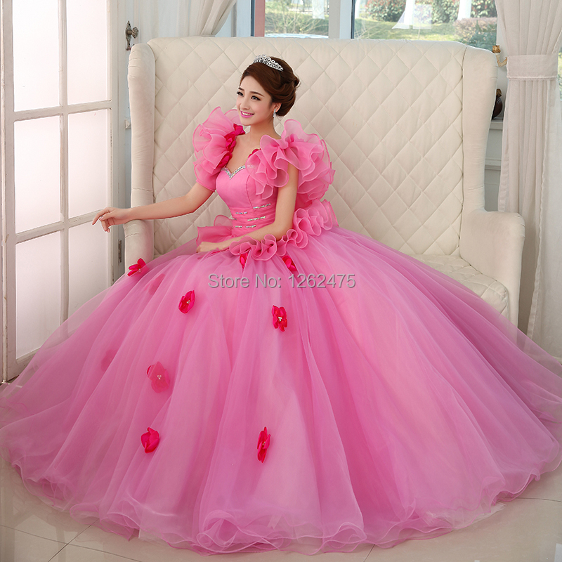 Pink White Princess Wedding Dresses: The New 2014 Bride CaiZhuang Princess Dress Color Wedding