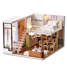 DIY Doll House With Furniture LED Light Miniature Wooden Dollhouse Handmade Puzzle Toys Gift L020 #E недорого