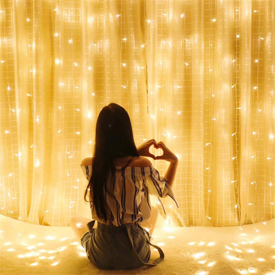 Thrisdar 3X3M 300 Led Curtain Icicle Fairy Light String Garland 8 Mode Outdoor Window Christmas Wedding Party Background Light thrisdar 6x3m 600 led icicle led string light outdoor window curtain fairy light string wedding party garden icicle garland