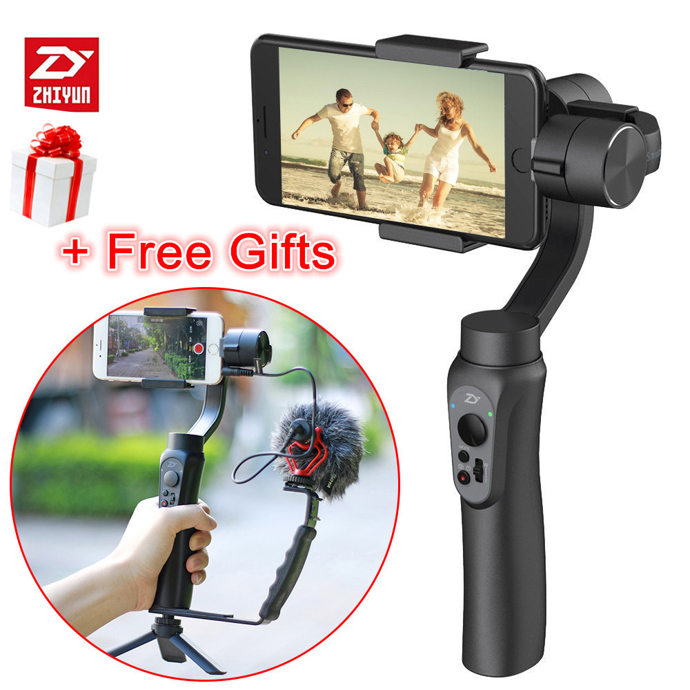 Zhiyun Smooth Q Gimbal Kit 3-Axis Handheld Video Stabilizer Steadicam APP control for iPhone Gopro action camera live streaming [hk stock][official international version] xiaoyi yi 3 axis handheld gimbal stabilizer yi 4k action camera kit ambarella a9se75 sony imx377 12mp 155‎ degree 1400mah eis ldc sport camera black