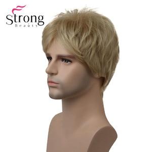 Image 3 - StrongBeauty בלונד קצר Striaght מלא סינטטי פאה לגברים זכר שיער Fleeciness מציאותי פאות צבע אפשרויות