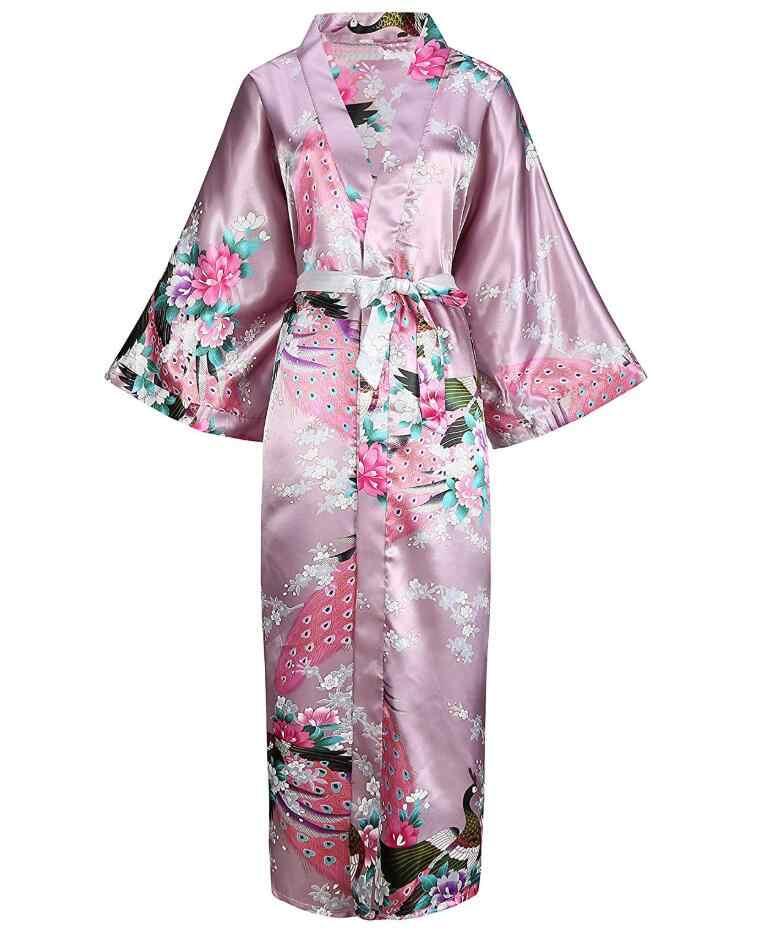 c7e93cbeeb Pink Chinese Women Silk Rayon Robes Long Sexy Nightgowns Yukata Kimono Bath  Gown Sleepwear Plus Size