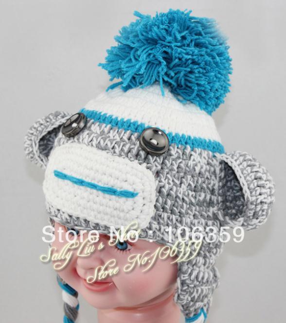 The Original Sock Monkey Hat Baby Infant Size NWT