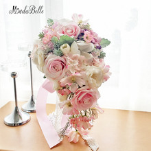 Dreamlike Pink Brooch Bouquet Waterfall Bridal Flowers Countryside Forest Artificial Wedding Bouquets Lace Bouquet Mariage