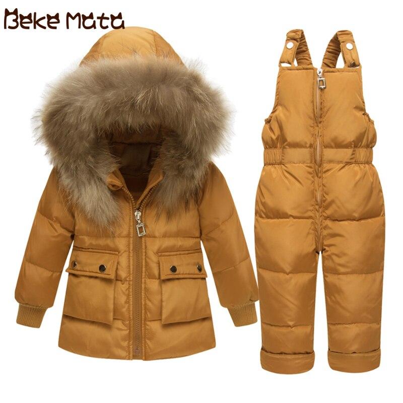 6cb38a9d0b1e BEKE MATA Baby Down Jackets For Girls Winter 2018 Fur Hooded Kids ...