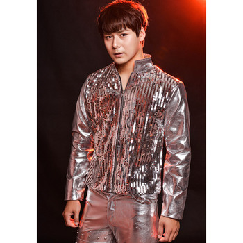 Nightclubs Tide Men's Leather Jackets Silver Sequins Men Motorcycle Leather Jackets Personalized Stage Performance Clothes S-5xl