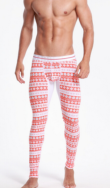 Envío Libre Para Hombre Invierno Ropa Interior Térmica Caliente Bottom Long Johns Bottoms Pantalones TODO patrón geométrico