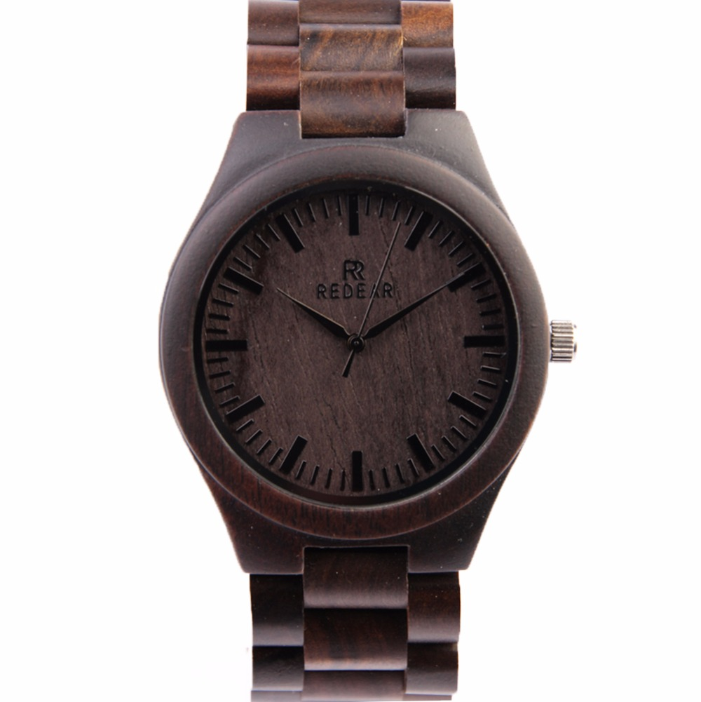 ФОТО REDEAR Fashion Men's Wooden Watches Top Brand Luxury Black Sandalwood Quartz Wristwatches Relogio Masculino