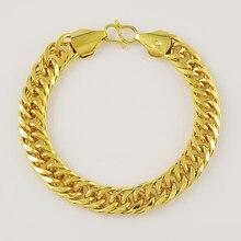 Women's Men's Bracelet 24K Gold Plating Cuban Link Chain Bracelets Yellow Gold Color Fashion Wholesale Jewelry for Men KBB10 цена 2017