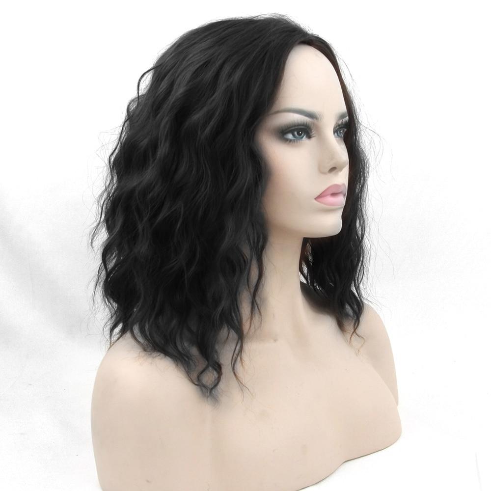 Soowee Cosplay Wig Curly BOBO Black Wigs Short Women Synthetic Hairpiece Heat Resistant Fiber Party Hair Piece