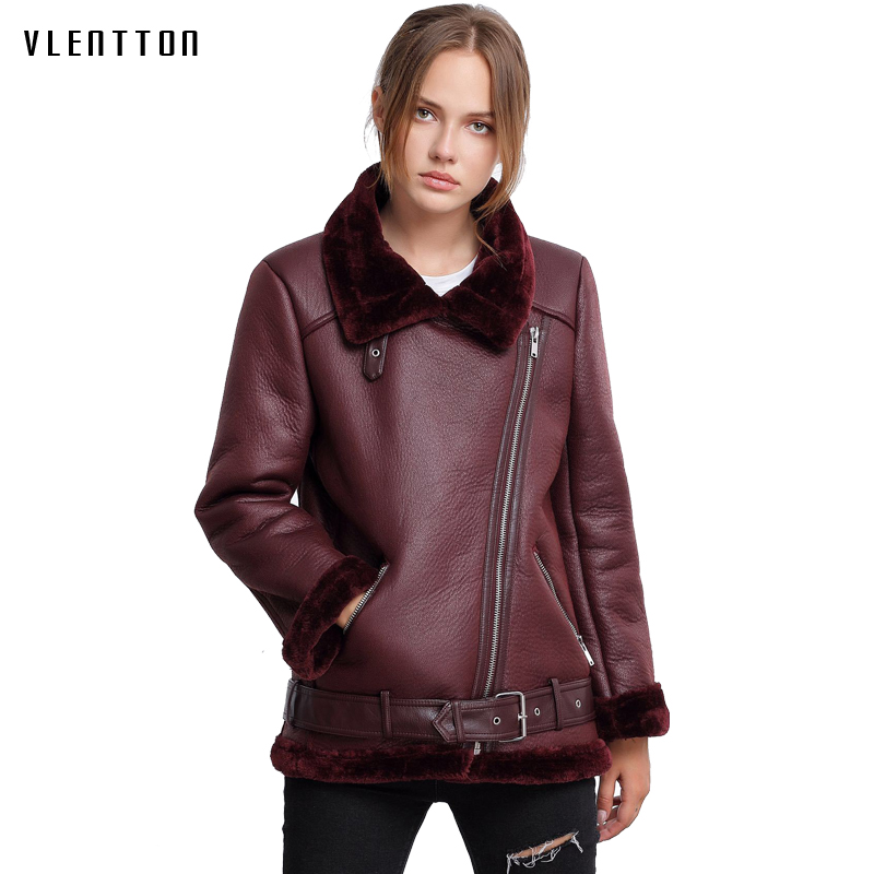 Faux Lambswool   Suede   Coats Women 2018 Autumn Winter Faux   Leather   Zipper Biker Jacket Female Casual Motorcycle Lamb Fur Warm Coat