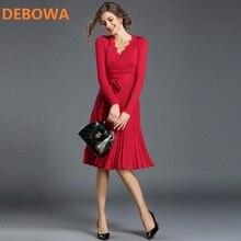 Debowa 2017, Новая мода осень-зима женское платье Sexy v-образным вырезом Офисные женские туфли Пояса вязаное платье Тонкий плиссированные платья женские