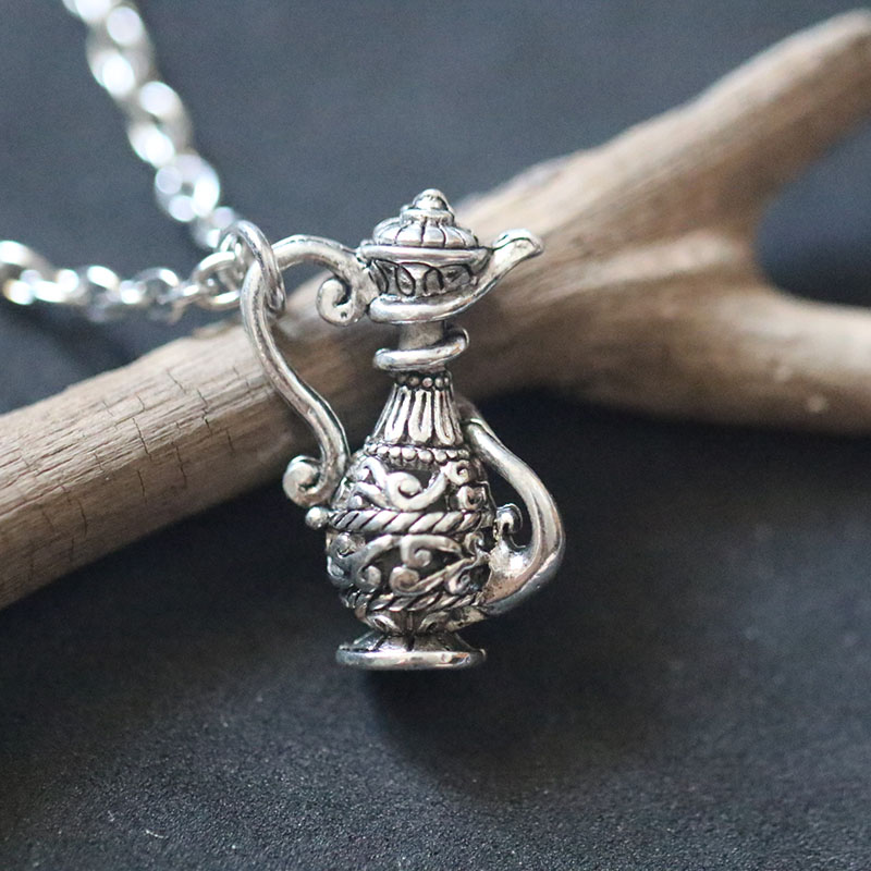Vintage Design Carved Hollow Bottle Flagon Teapot Chain Necklace Pendant Necklace Gypsy Jewelry Vase Boho Pendant Gift in Pendant Necklaces from Jewelry Accessories