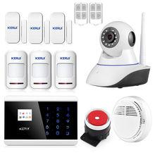 Wi-fi ip-камера Сигнализация 99 Зон 4 Язык Опция Беспроводной GSM Сигнализации Системы Домашней Безопасности Kerui 8218 Г