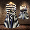 Matching Mother And Daughter Clothes New 2016 Summer Thin Striped Blue O-neck Dresses Superestrella Family Look Clothing QZ004