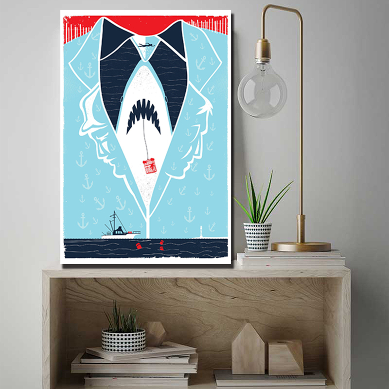 Jaws Shark Hot Movie HD Canvas Paintings For Living Room Modern Wall Art Oil Picture Modern Poster Home Decor image