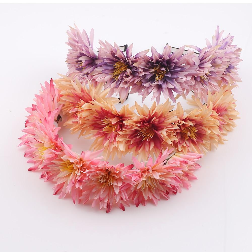 8 colors Flower Headband Wreath Kids Festival Wedding Girls Party ...