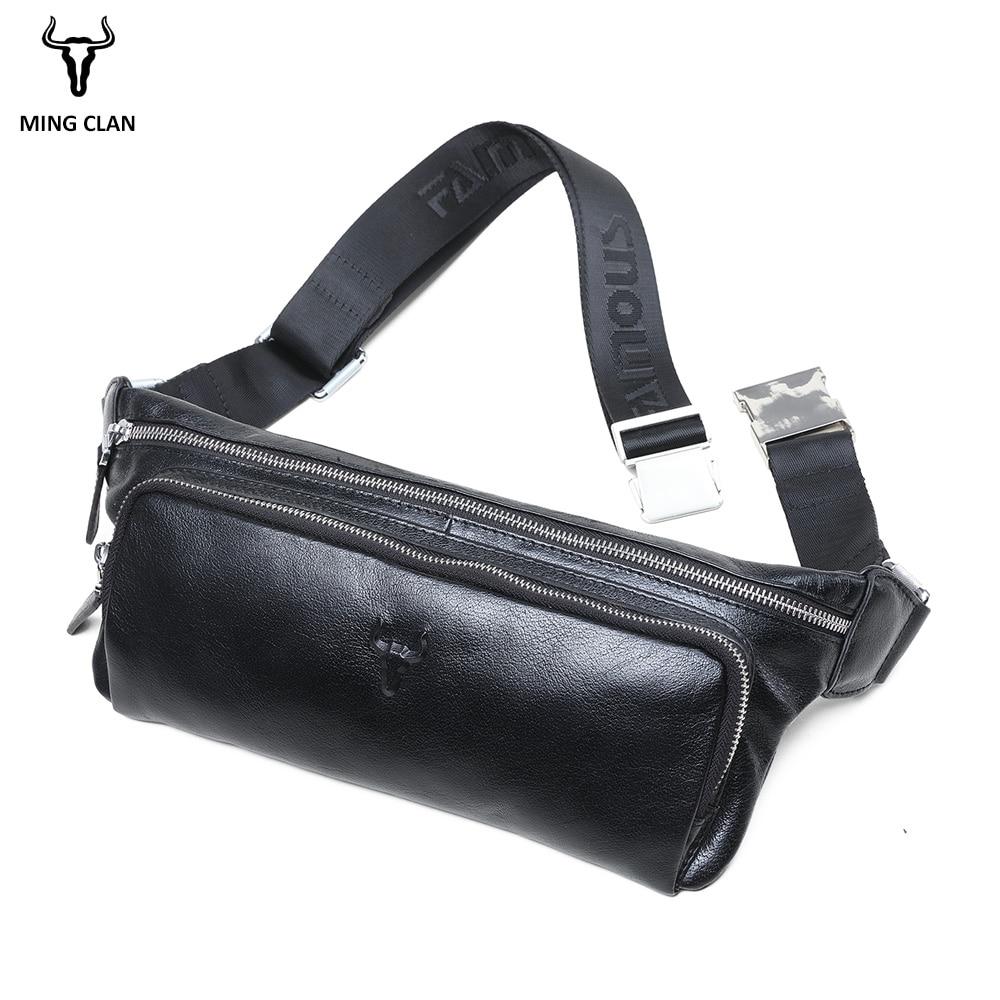 Mingclan, мужские дорожные сумки из натуральной коровьей кожи, сумки на пояс, портативная мужская сумка на пояс, мини сумка на пояс для телефона, ... - 3