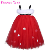 White Feather Santa Baby Christmas Tutu Dress Kids Girl Red Fluffy Ball Gown New Year Photograph Tutu Dresses Can Be Customized