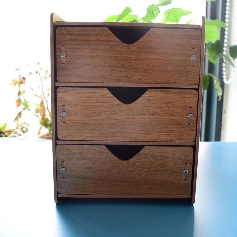 2017 Office 3 Drawer Wooden Desk File Cabinet Drawer Box Table Organizer  Document Stationery Holder