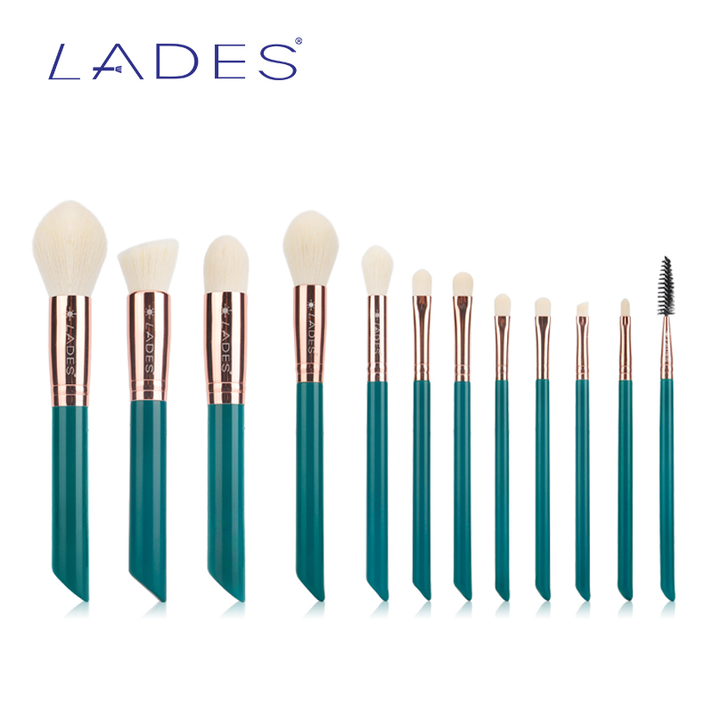 LADES Pro 12pcs Makeup Brushes Set Powder Foundation Eyeshadow Eyeliner Lip Brush Tool Rose Gold Aluminium  Soft Synthetic Hair 2017 new20pcs foundation eyeshadow eyeliner lip brush tool makeup brushes set powder new