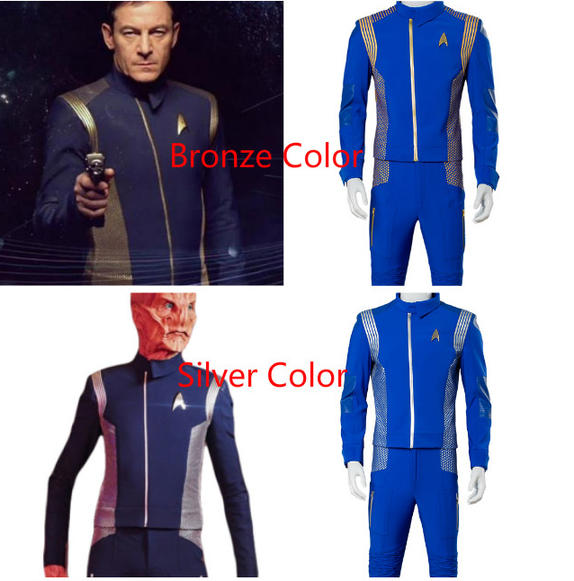 Star Cosplay Costume Trek Discovery Uniform Captain Suit Lt. Saru Outfit Adult Halloween Carnival Costume Men Two Version image