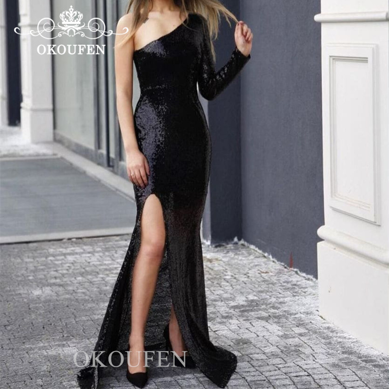 One Long Sleeves   Bridesmaid     Dresses   For Women 2019 Bling Sequined Side Split Mermaid Formal   Dress   For Wedding Party Gown