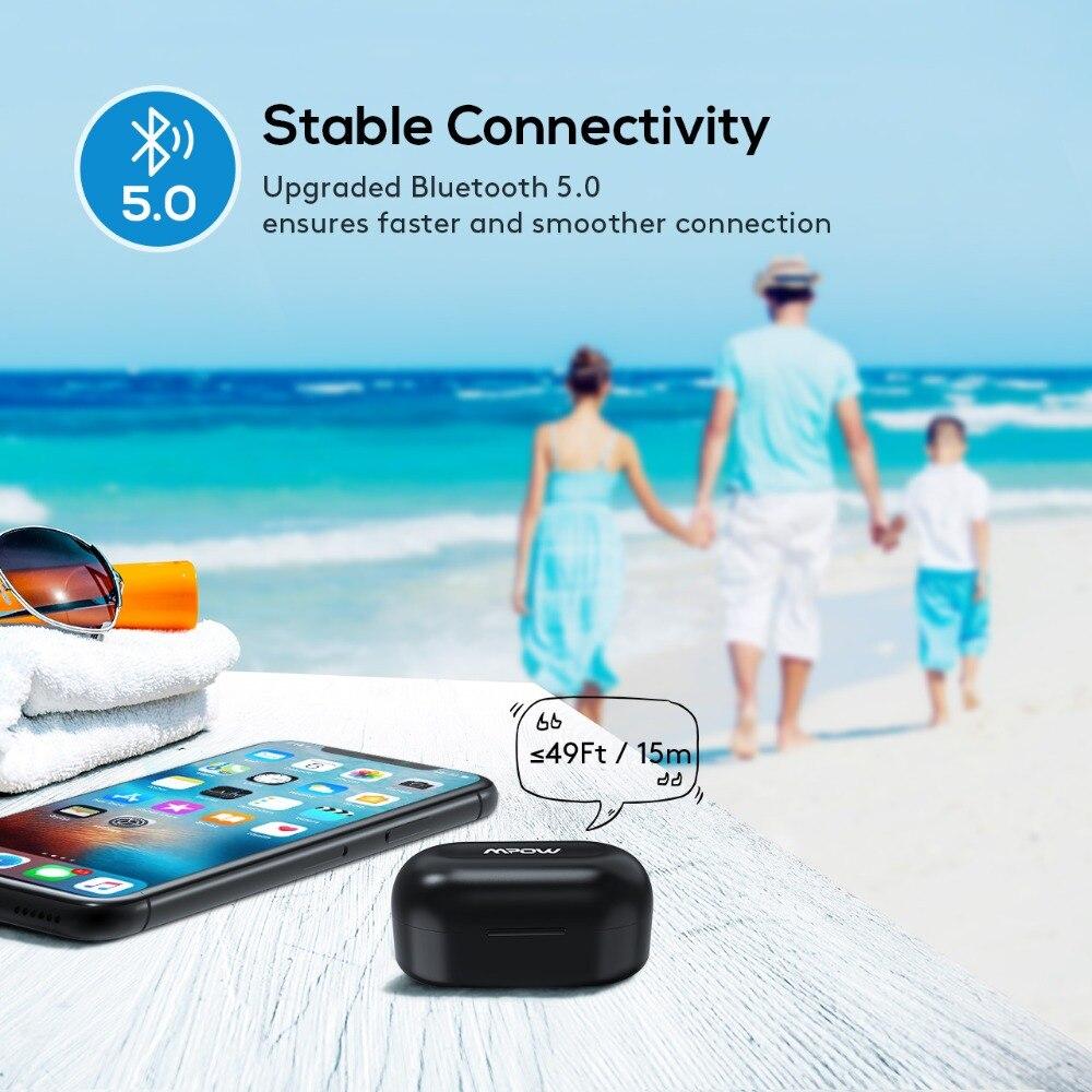 Mpow T6 TWS inalámbrica Bluetooth 5,0 auriculares ipx7 impermeable 21 h tiempo auriculares inalámbricos con micrófono para iPhone Xs xr Huawei - 4