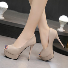 Women Pumps Shoes Summer Peep Toe PU Leather Slip-On 14cm Thin High Heels Business Casual Shallow Party Lady Sexy Female Shoes peep toe shallow shaped stiletto woman sandal boots thin high heels black suede leather lady sexy ankle booties slip on shoes
