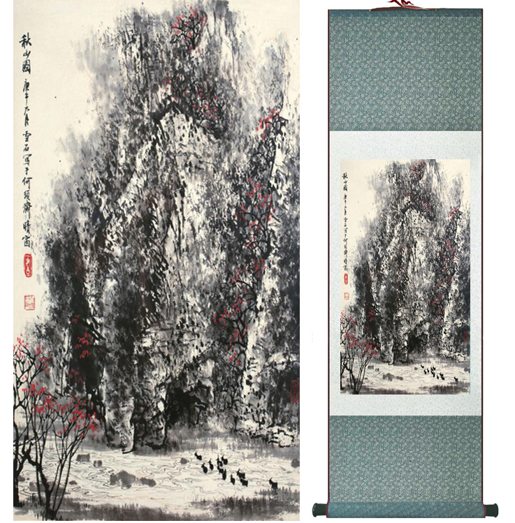 Mountain and River painting Chinese scroll painting landscape art painting home decoration picture 041310