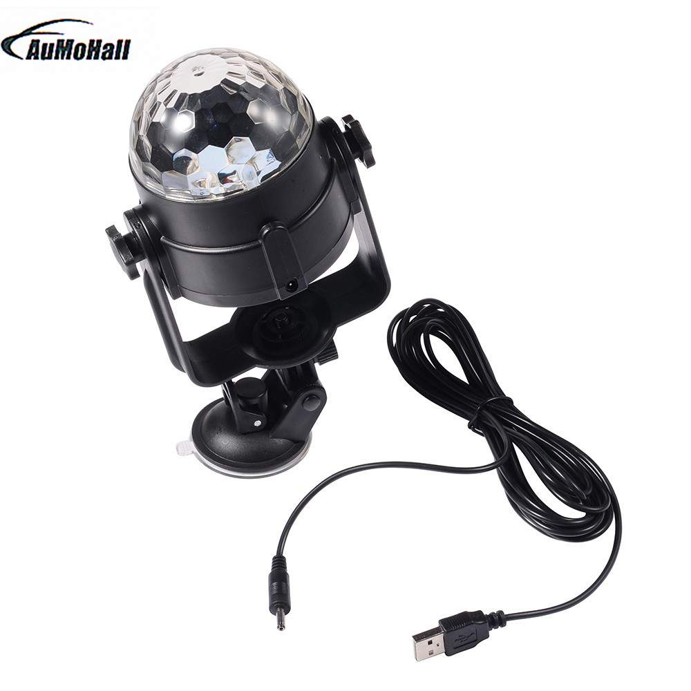 Auto Car Disco DJ Stage Lighting LED RGB Crystal Ball Lamp Bulb Light Party USB