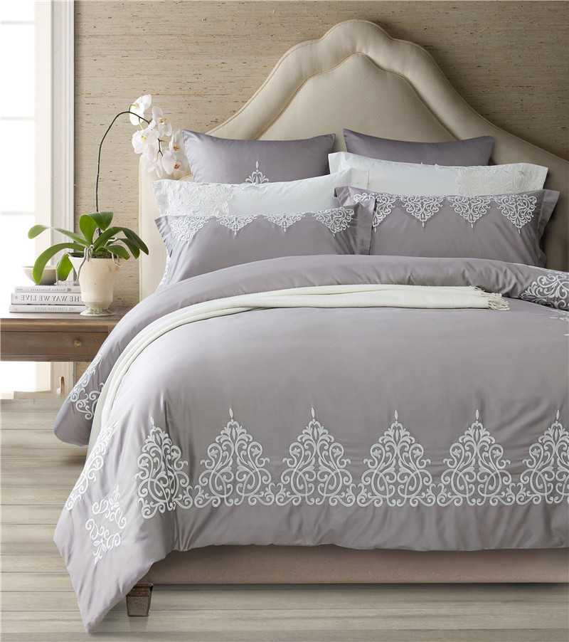grey egyptian cotton bedding set queen king size bed set oriental embroidery bed sheet set duvet. Black Bedroom Furniture Sets. Home Design Ideas