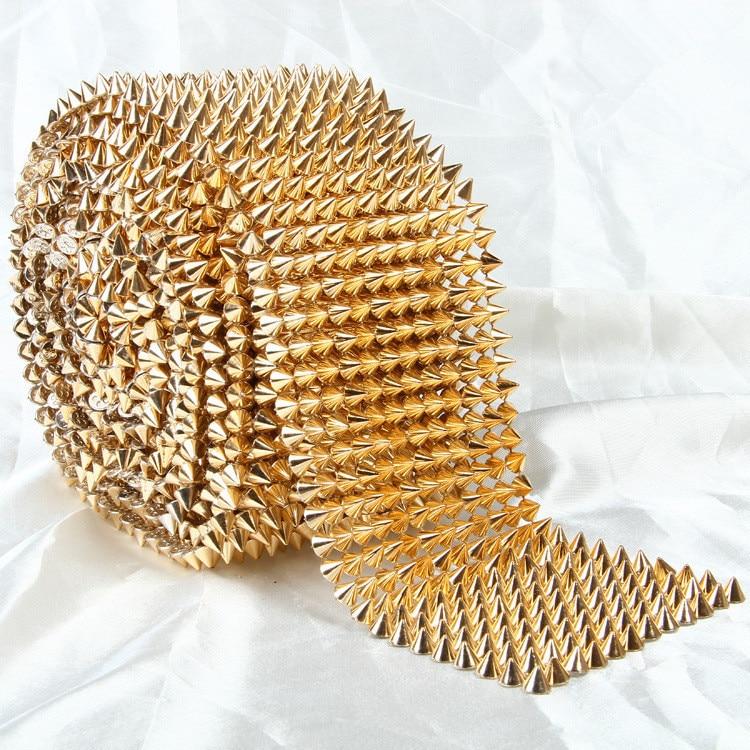 14 Row Golden Spikes Rivets Shape Plastic Rhinestone Mesh Trimming Sewing Mesh Trim 1 Yard Free Shipping For Garment Bag Shoes