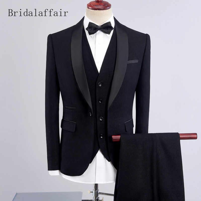 Bridalaffair Männer Anzug 2018 Hochzeit Anzüge Für Männer Schal Kragen 3 stück Slim Fit Schwarzen Anzug Herren Königsblau Smoking Jacke Hosen