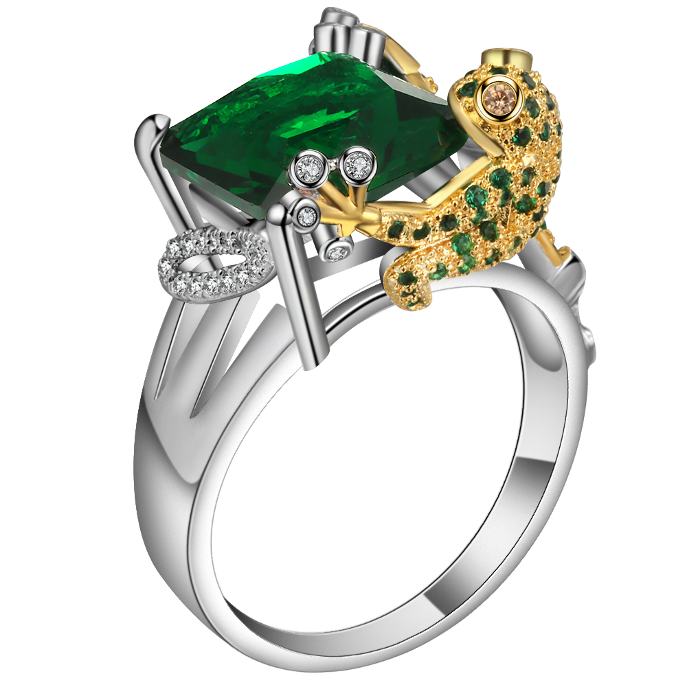 drop Shipping 925 sterling silver color Jewelry Promotion Fashion green Crystal Frog Design Charming Finger Rings For Women