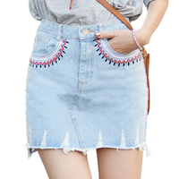 2017 New Vintage Above Knee Embroidery Holes Women Short Skirts Ladies Summer Asymmetrical Female Blue Jean