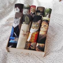 retro cats fabric Handwork DIY Fabric QUILTING Middle Ages cats Hand dyed painting Digital printing patchwork(China)