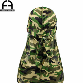 Fashion Camo Men's Silky Durags Turban Print Men Silk Durag Headwear Bandans Headband Hair Accessories Pirate Hat Waves Rags 10