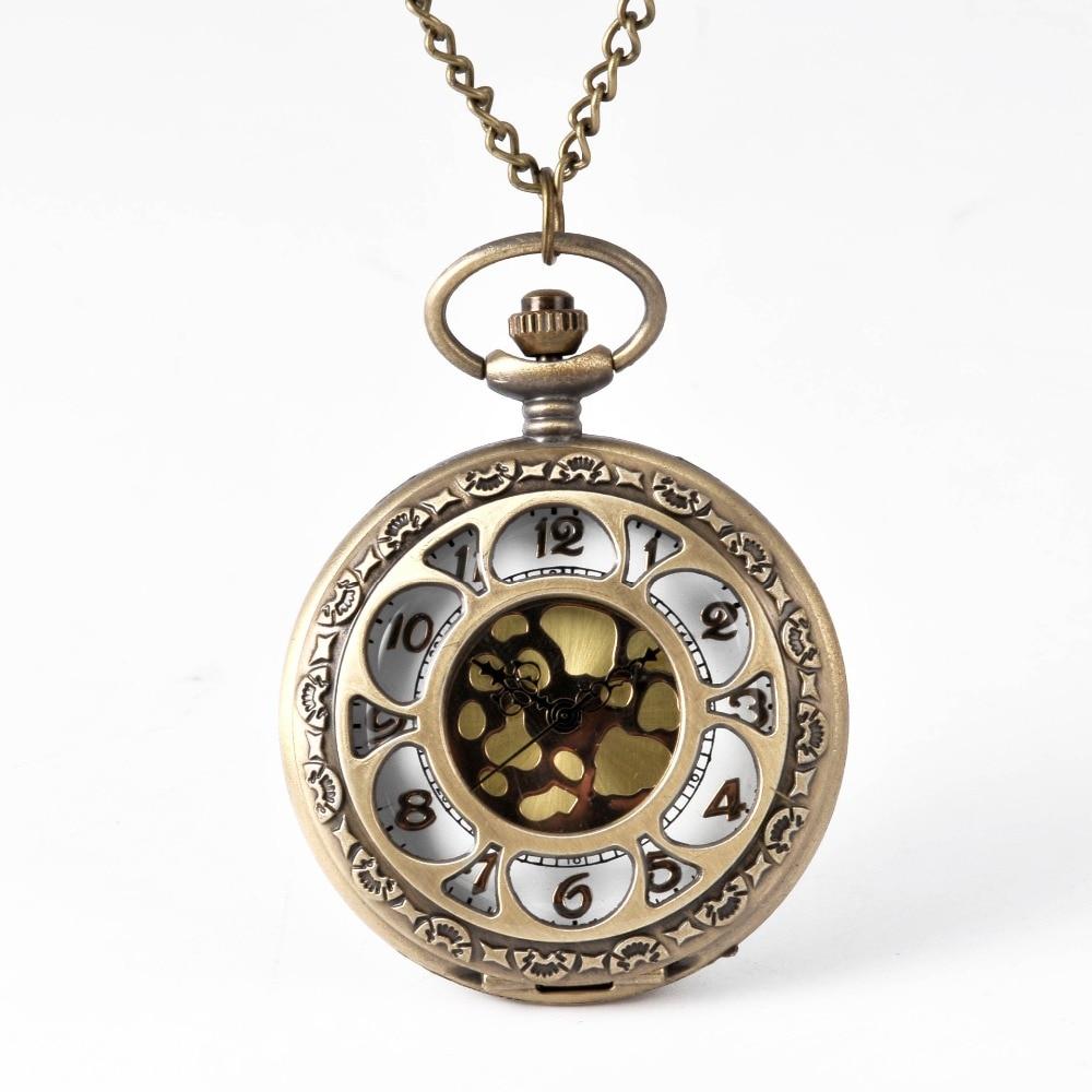 Golden Quartz Pocket Watch Pocket Watch Chain Antique Hollow Greek Numerals Gift Surround Hollow Perspective