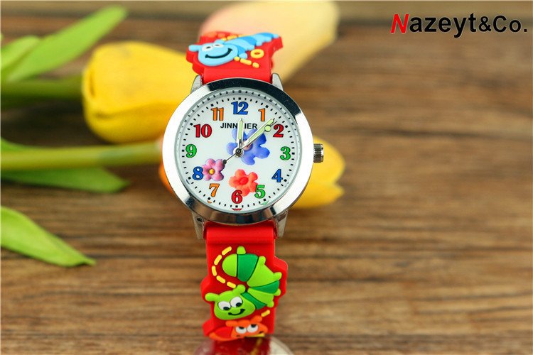 New Children Contracted Flowers Noctilucent Pointer Quartz Watch Cute Animals 3 D Worm Pattern Strap Silicone Watches