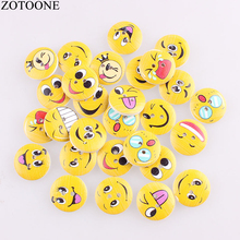 ZOTOONE 100pcs Mixed Random Round Wooden Sewing Cute Emoji  Face Buttons 15mm Two Holes Cabochon Scrapbooking DIY Accessoires C