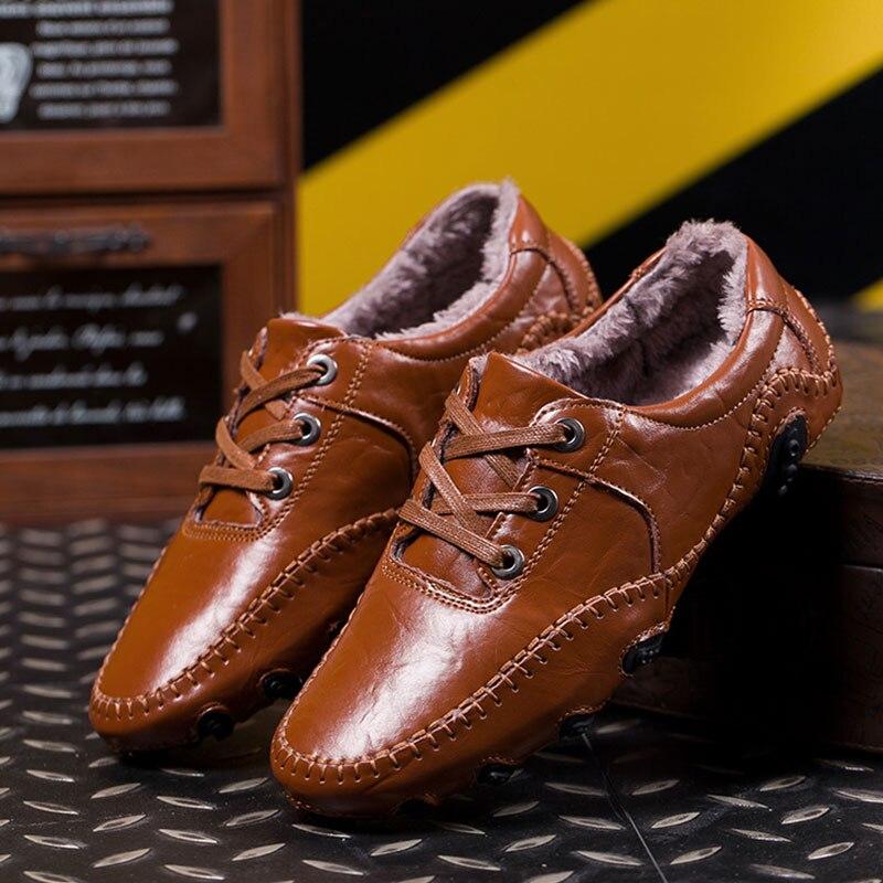 SUROM casuales de los hombres Zapatos de cuero genuino pisos de estilo británico mocasines calzado de los hombres de invierno y primavera Chaussures Zapatos Hombre
