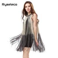 European American Ladies Fashion 2015 Summer Style Sexy O Neck Sleeveless Gradient Tassel Dresses Women Chic